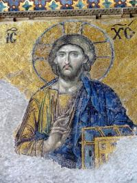 Mosaic of Jesus on Judgement Day in Hagia Sophia